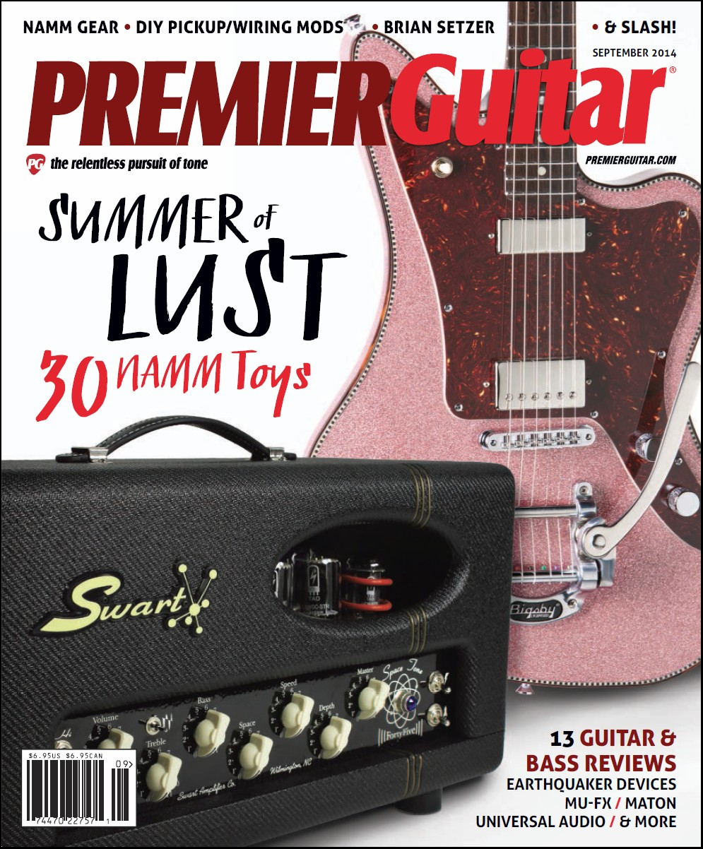September 2014 Edition of Premier Guitar Magazine Cover w/Swart ST-45